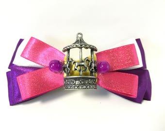 Carousel, hair bow, horses, merry go round, hair accessory, clip, pink, purple, white, birthday, Valentine's Day, gift, women, girls