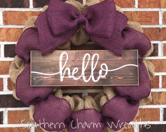 """18"""" Natural Burlap & Colored Burlap """"hello"""" Wreath **many colors available!!**"""