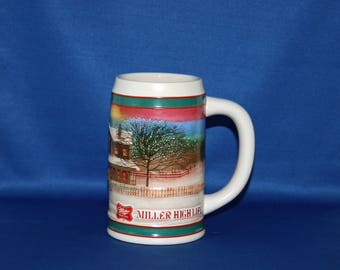 Vintage Rastal 1985 Miller High Life Handcrafted Limited Edition Holiday Traditions Beer Tankard / Stein Made in Germany