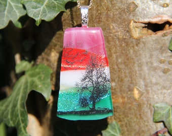 Birds in flight landscape dichroic pendan,t dichroic glass necklace,  fused glass necklace, fused glass pendant, multi-coloured dichroic,