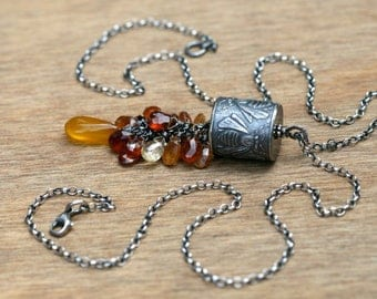 Sterling Silver Anne Choi Rustic Line 'Daughter of the Beehive' OOAK Fine Necklace -bee talisman . statement necklace . beehive honey color