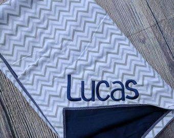 Monogrammed baby boy blanket, personalized security blanket, Navy and gray baby boy blanket, personalized baby blanket, baby boy gift