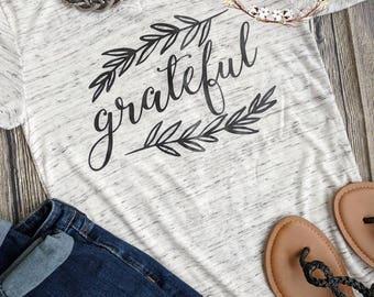Grateful shirt, grateful thankful blessed, Thanksgiving shirt, cute fall shirt, blessed mama shirt, women's fall shirt, grateful t-shirt