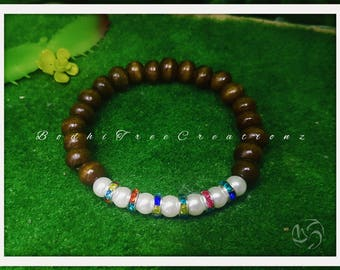 Wooden beaded faux pearl rainbow crystal rhinestone bracelet
