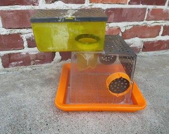Cool retro hamster or mouse cage, modular hamster cage, modular habitat, 1970's, reptile habitat, yellow orange playroom decor, retro toy