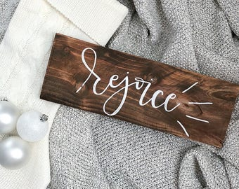 "Rejoice | 15"" x 6"" Wood Sign 