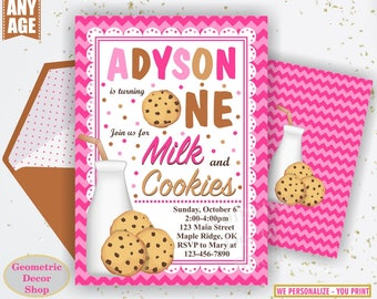 Milk And Cookies / Invitation / Invite / First / Birthday / 1st / one / pink / girl / photo / photograph / Printable / BDMC1