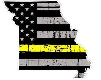 Missouri State (E26) Thin Yellow Line Dispatch Vinyl Decal Sticker Car/Truck Laptop/Netbook Window