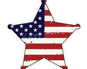Badge Shape (J54) USA Flag Distressed Vinyl Decal Sticker Car Laptop/Netbook Window