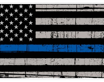 American Flag (V55) Thin Blue Line Vinyl Decal Sticker Distressed Car Laptop/Netbook Window