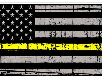 American Flag (E55) Thin Yellow Line Dispatch Vinyl Decal Sticker Distressed Car Laptop Window