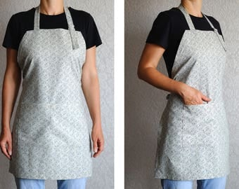 Natural Linen apron Womens Aprons Full apron Adjustable apron with pockets Cooking apron Kitchen apron Pinafore apron mother gift craft gift