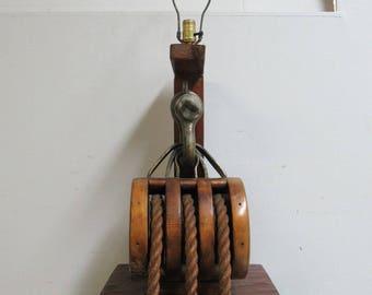 Vintage Ships Marine Pulley Block Tackle Lamp A