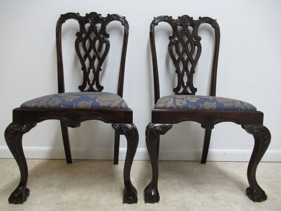 Pair Vintage Mahogany Reproduction Ball Claw Chippendale Dining Side Chairs B