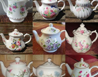 Job Lot of 10 **LARGE** Vintage Mismatched Teapots Floral Chintz - Perfect Bulk Tableware for a Mad Hatters Tea Party or Wedding etc!