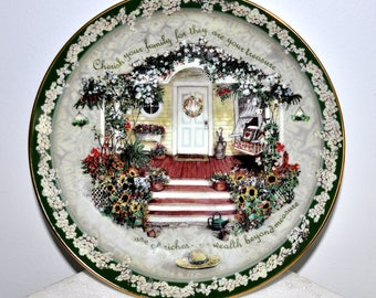 Bradford Exchange Limited Edition Cherish Your Family by Glenna Kurz, Welcome Home Collection, Collectible Plate, Home Sweet Home