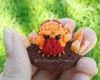 Phoenix pendant polymer clay charm, baby bird sculpture, kawaii necklace, miniature mythical creature.