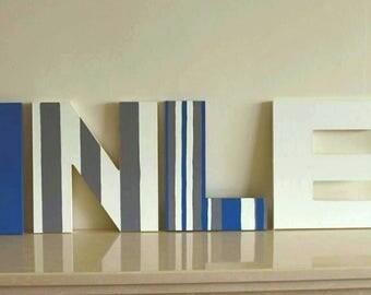 Freestanding name, Wooden letters, Boys nursery letters, Handpianted, Nursery letters, Children's bedroom, 20cm Tall, Bespoke, Gift for him