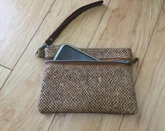 Cork, wristlet, wallet, python brown, ladies, eco friendly