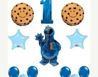 ON SALE 12 pc Sesame Street Cookie Monster Balloons 1st birthday party supplies shower