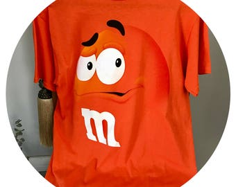 Vintage M & M 90's shirt, Size M Orange Retro Ad t shirt, Deadstock  EUC, Chocolate Candy shirt, Old School Ad shirt, Dad gift