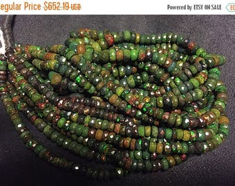 ON SALE 50% Rare Black Opal Beads, Ethiopian Opal, Welo Opal Rondelle Beads, Faceted Opal Beads, 16 Inch Strand, 3mm To 7mm Each, SKU-8439