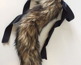 Luxury Large Brown Wolf Kitten Play BDSM Tail Faux Fur 25 Inch
