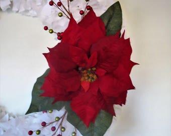 Large White Rag Wreath with Poinsettia