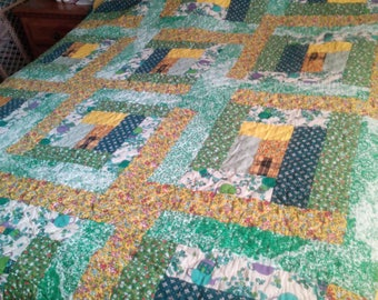 "Vintage Handmade Patchwork Quilt 98"" x 74"" Multi-color Floral Yellow w/white on the back Size 98"" x 74"""