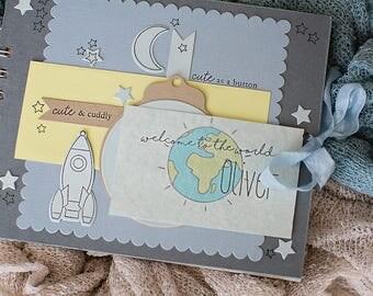 New baby scrapbook album, baby keepsake, new baby gift , shabby chic baby album