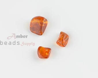 Jewelry Making Beads, Amber Beads, Loose Beads for Jewelry, Baltic Amber, 3 pieces, Beads with Holes. MO131