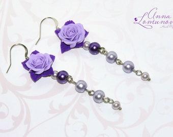 Violet Flower Earrings Flower Wife gift Lavender earrings gift Purple Flower Earrings Lilac earrings Purple Wife gift Violet rose earrings