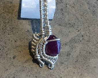 Pink Tourmaline Sterling Silver Necklace Pendant