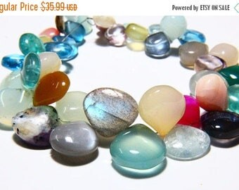 "65% OFF SALE 8"" Full Strand Mixed Stones Multi Gemstone Smooth Heart Shape, Multi Stones Drilled Stones Gemstone Beads Plain Stone Beads Cha"