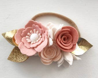Felt Headband// Floral headband// felt crown// baby shower// gold leaves//blush//blush headband// newborn// anenome//headband// felt flowers