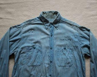 1940s WW2 USN Chambray Blue Work Shirt US Navy Deck Jacket Prison Rockabilly Real Mccoy Buzz Rickson Nigel Cabourn RRL selvedge denim lvc