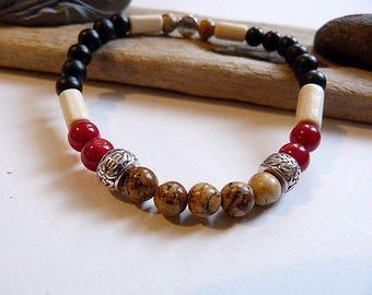 Bracelet homme ou mixte en onyx, quartz et jaspe bois, style ethnique
