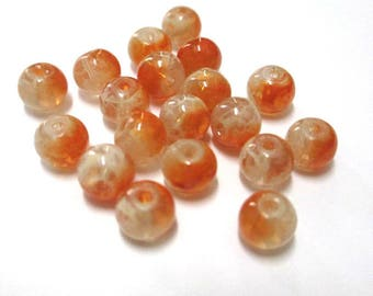 20 transparent beads speckled orange and white 6mm