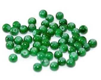 20 dark green speckled Black 4mm beads (6 M)