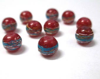 10 red beads drawbench multicolor painted glass 8mm (B-30)