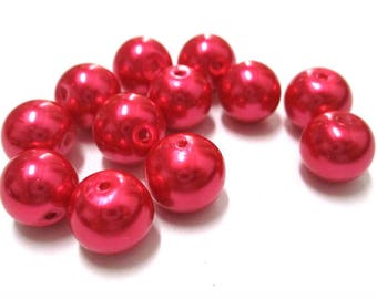10 Pearl glass 10mm (F-11) bright red beads
