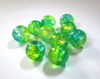 10 beads yellow and green Crackle Glass 8mm