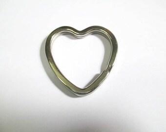 1 rings worn key 32mm silver color heart shape