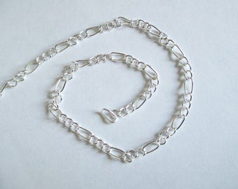 """1 meter of """"figaro"""" in silver color chain"""
