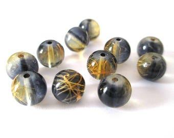 orange 10 black beads drawbench translucent 8mm