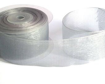 1 m 40mm light grey organza Ribbon