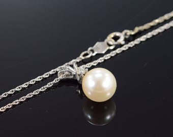 14k 8mm Pearl Diamond Pendant Link Necklace Gold 15.1""
