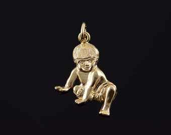 10k Crawling Baby Infant Newborn Child Charm/Pendant Gold