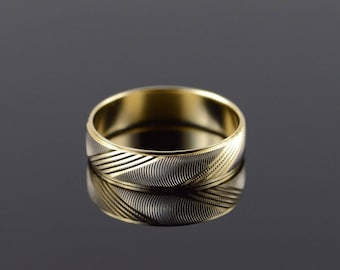 14k 6mm Fancy Two Tone Textured Wedding Band Ring Gold
