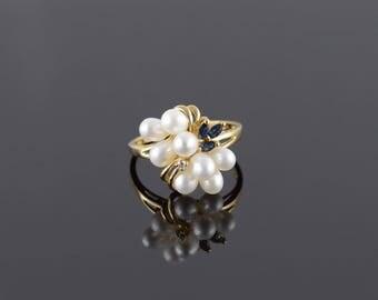 14k 4mm Pearl Sapphire Diamond Fancy Cluster Ring Gold
